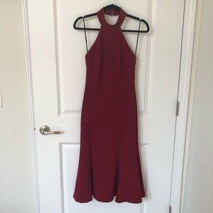 Lulus Wine Red Backless Midi Dress
